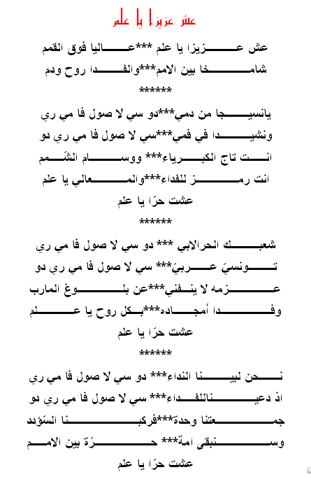 أنشودة : عش عزيزا يا علم